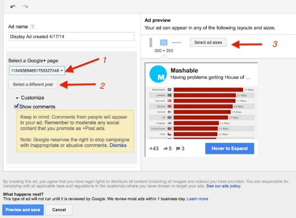 Google Plus Advertising Create Adwords Ads