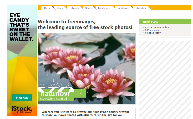 The Free Images website