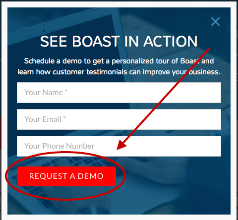 landing page form for Boast