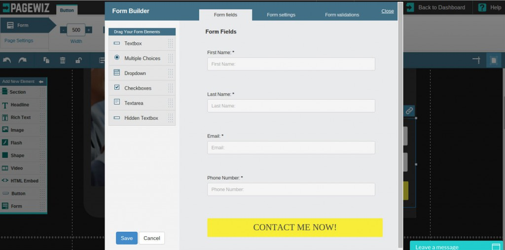 The Form Settings interface allows you to change the name and order of your fields.