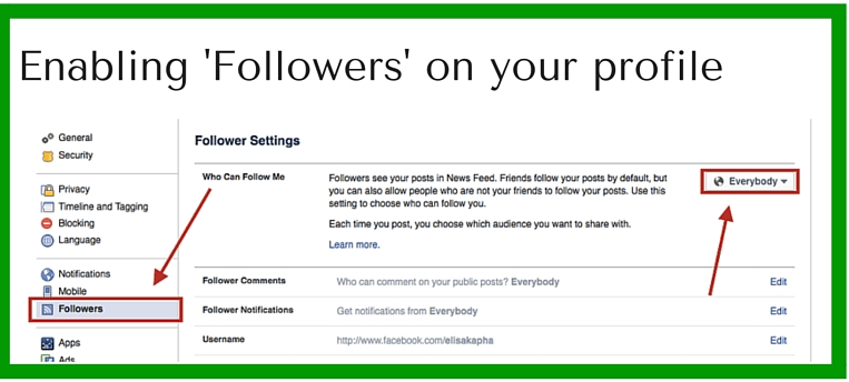 how to set the follow button on facebook