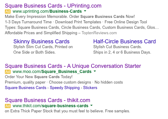 Square Business Cards Search Results
