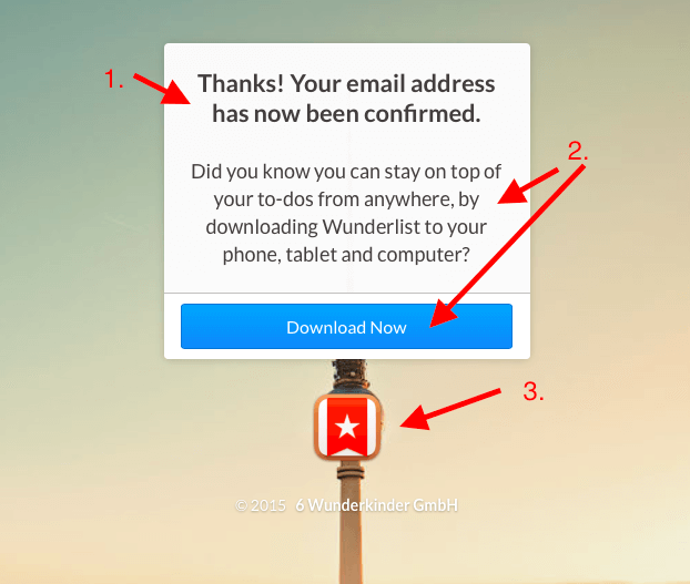 Wunderlist thank you pages