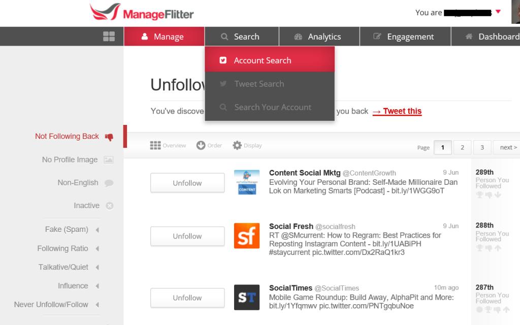 manage-flitter social media