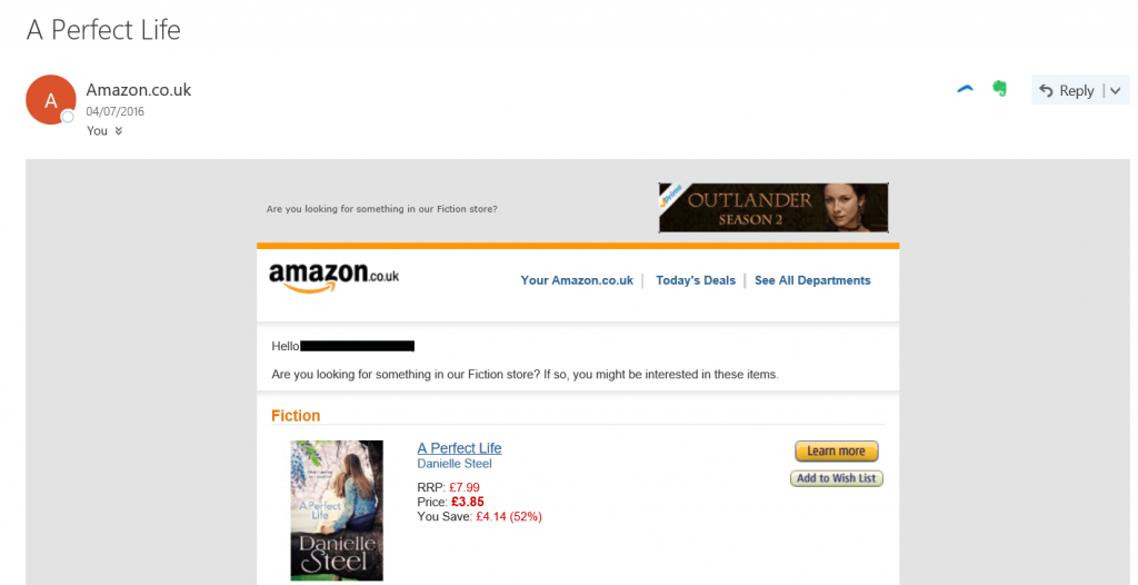 Image 2. Amazon example drip email campaigns