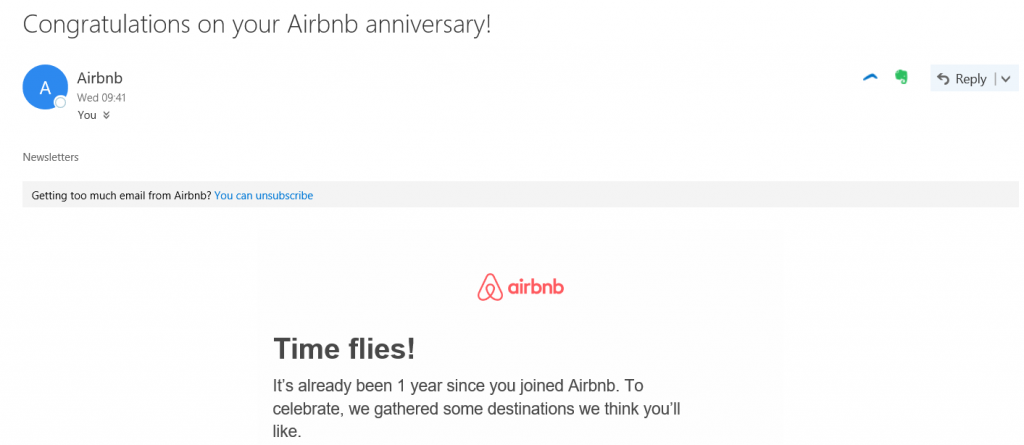 Image 4. AirBnB anniversary example drip email campaigns