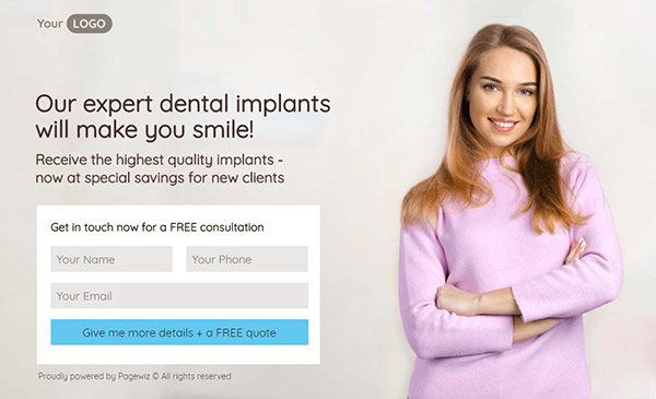 Dental-Implants Pagewiz landing page template image