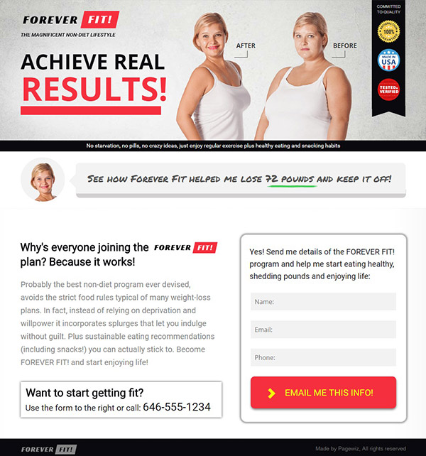 Fitness-Lifestyle-Consultant Pagewiz landing page template image