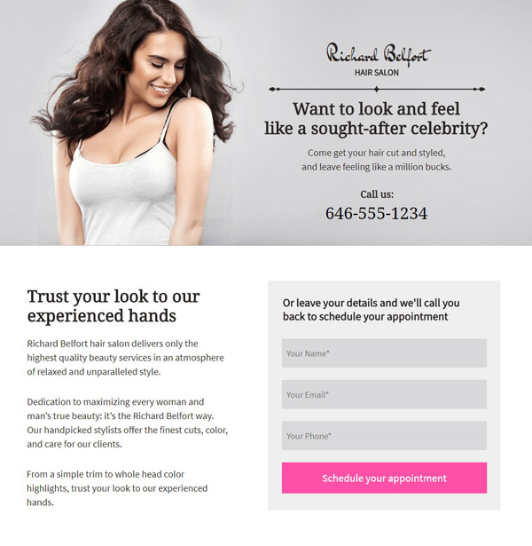 Hair-Salon Pagewiz landing page template image