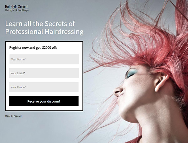 Hairstylist-School landing page template