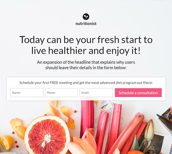Nutrition-Consultant Pagewiz landing page template image
