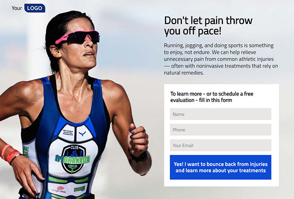 Sports-or-Fitness-Medicine Pagewiz landing page template image