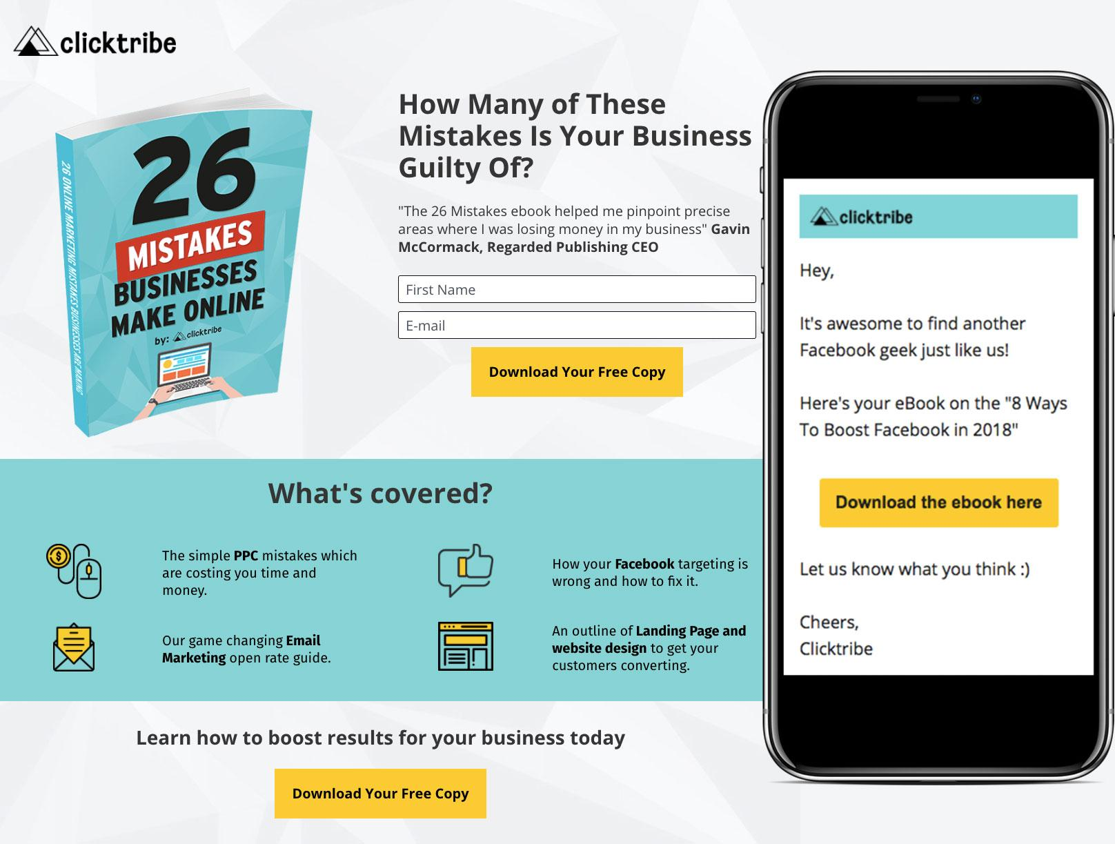 Landing Pages Clicktribe