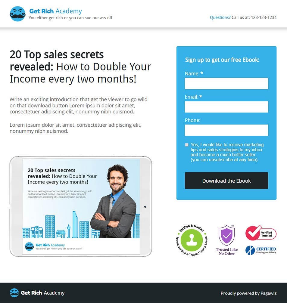 Landing page template: Blue-sales ebook