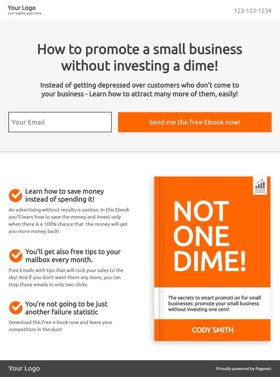 Landing page template: Business ebook
