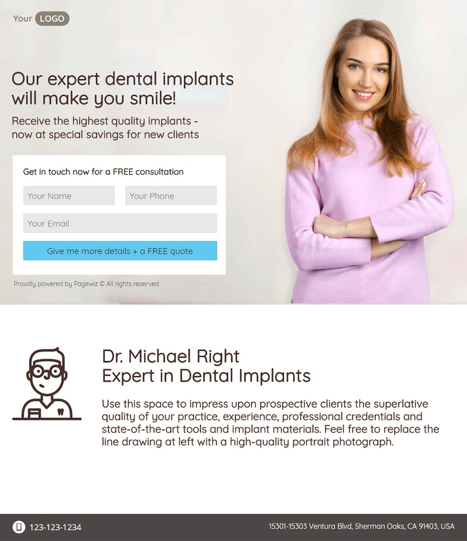 Dental Implants Landing Page Template By Pagewiz