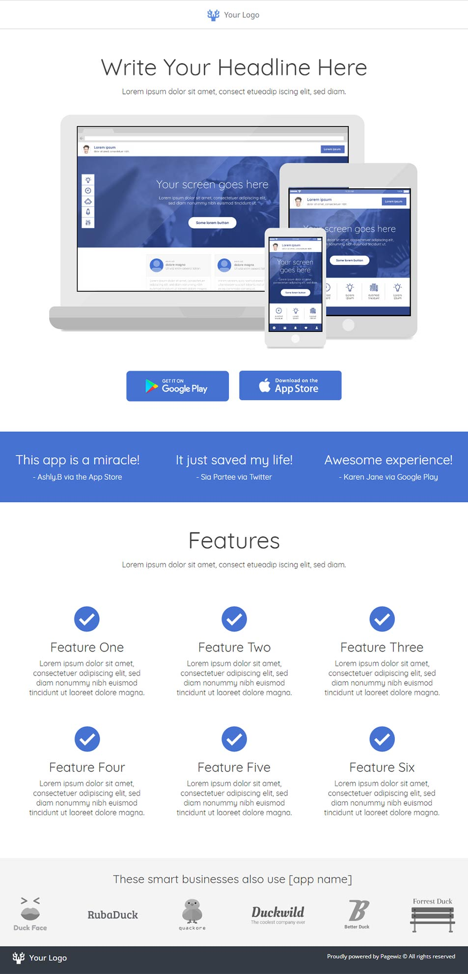 Landing page template: Multi-device app