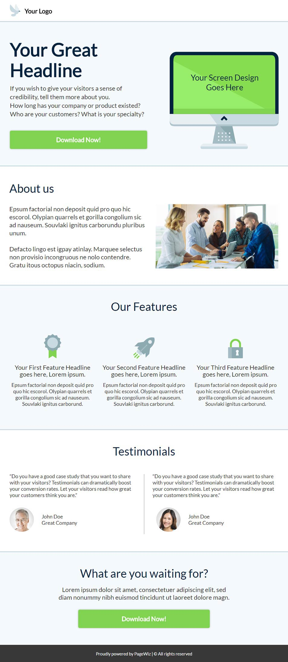 Landing page template: Clear bright sky