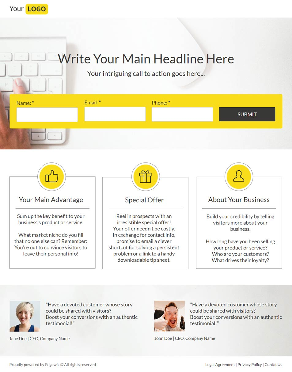 Landing page template: Yellow jacket