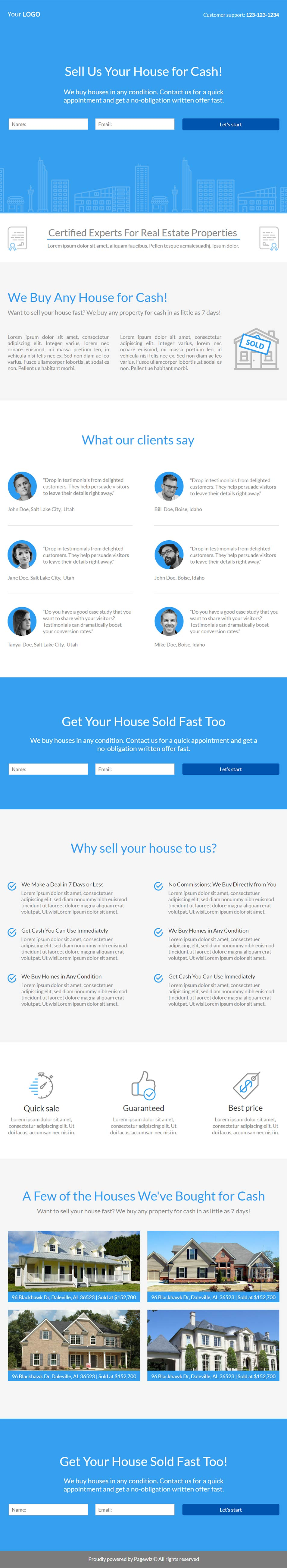 Landing page template: Azure real estate