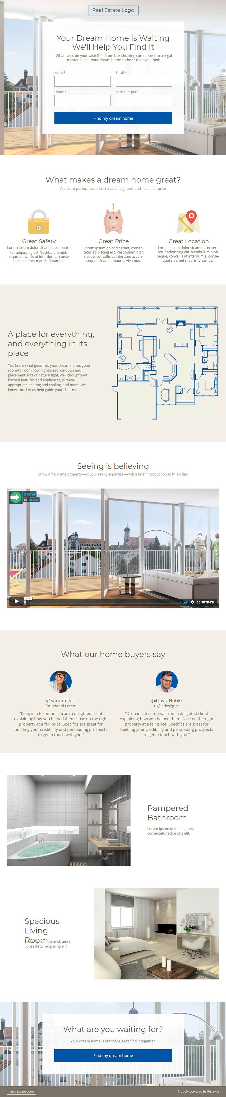 Landing page template: Blue-cream real estate