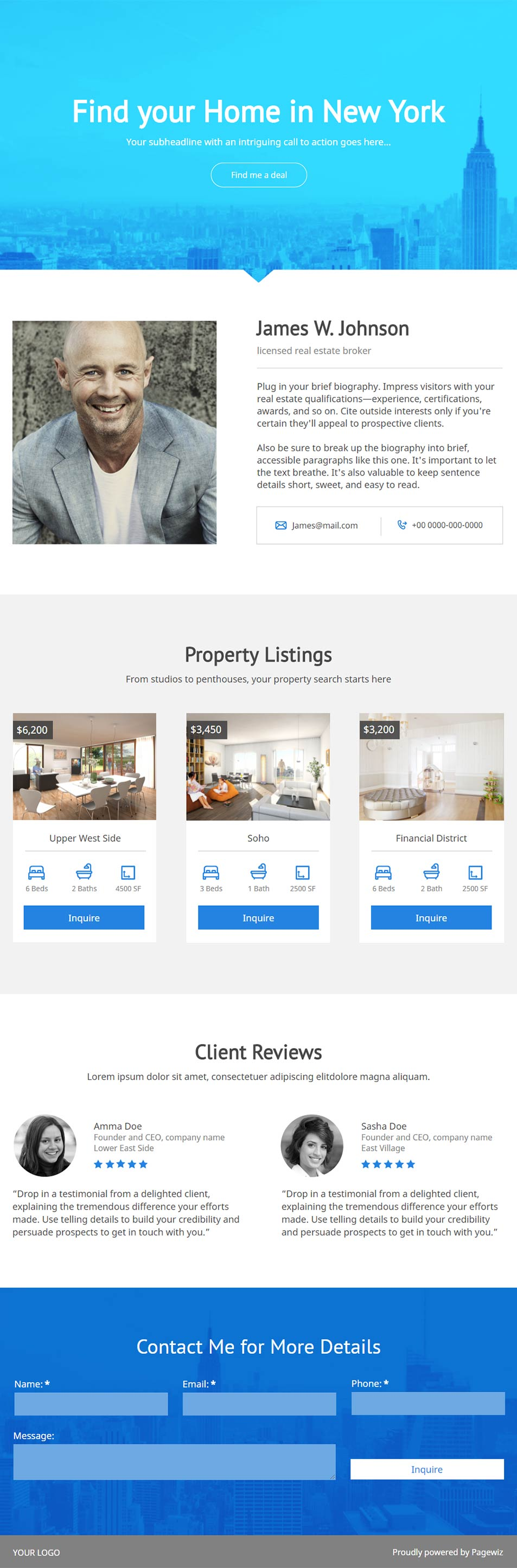 Landing page template: Bright-blue real estate