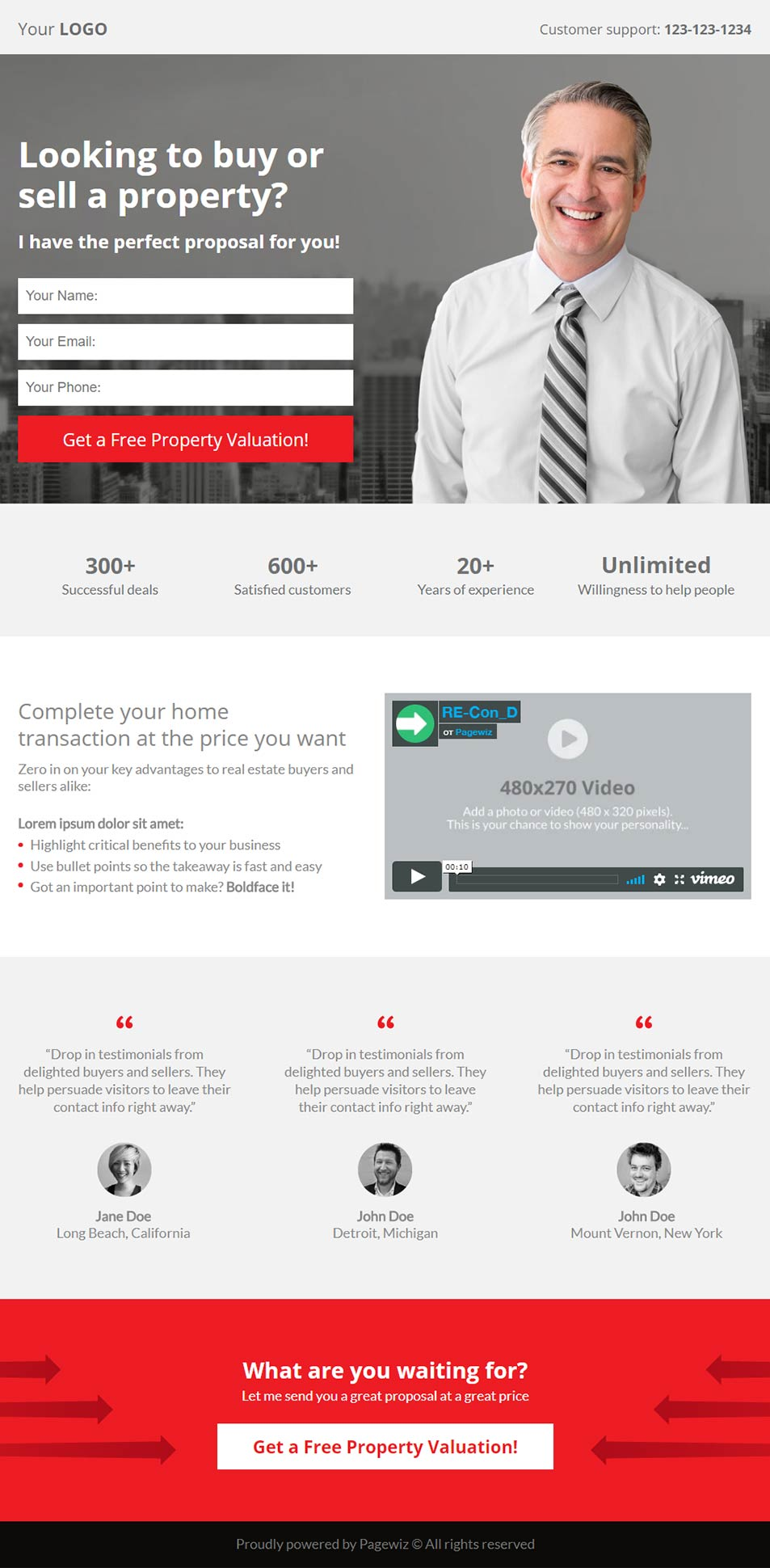 Landing page template: Consultant real estate