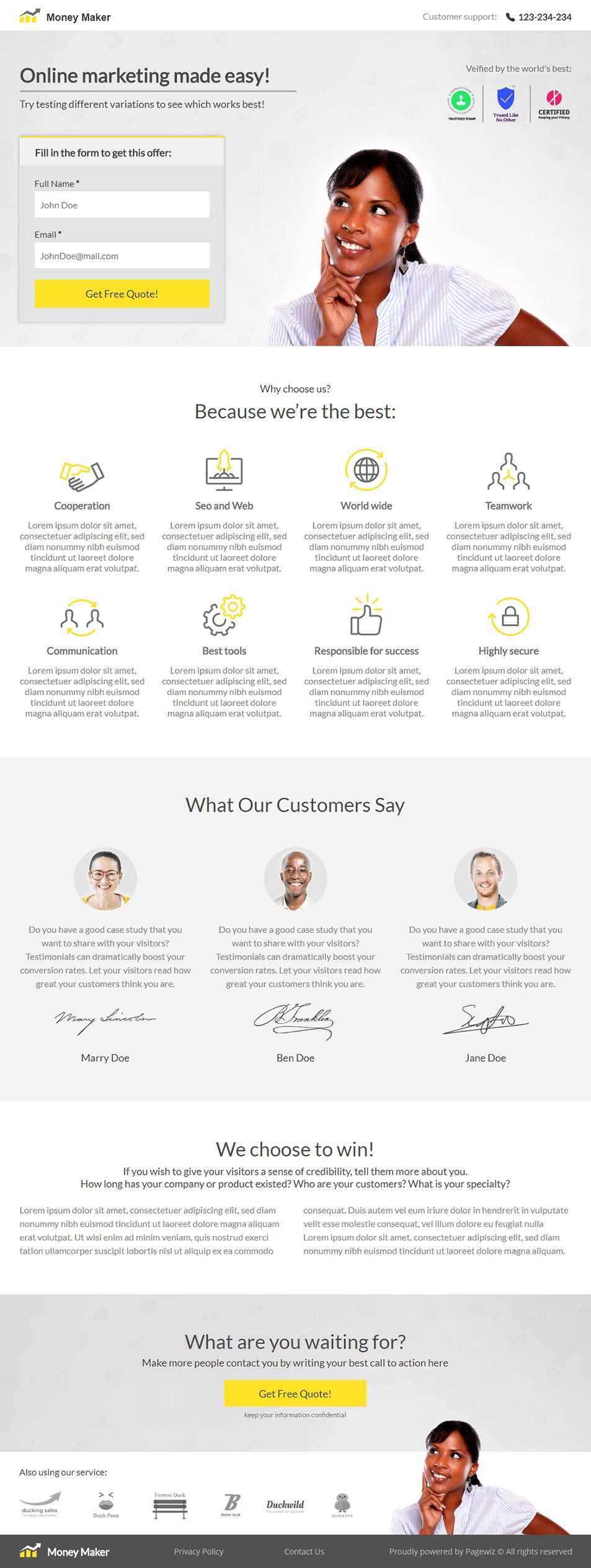 Landing page template: Money maker \n