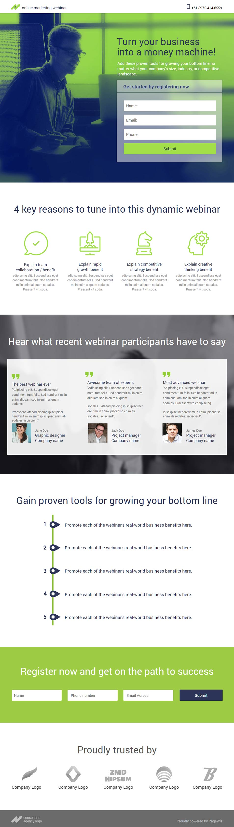 Landing page template: Lime Accent Webinar