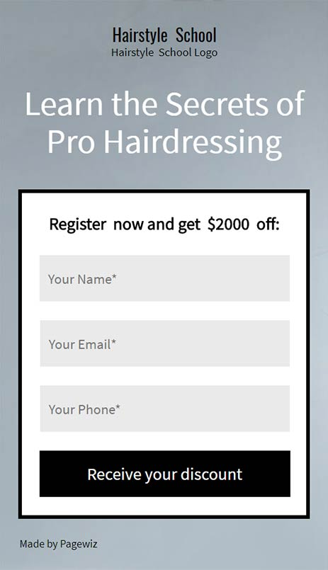 Landing page template: Beauty hairstyle school